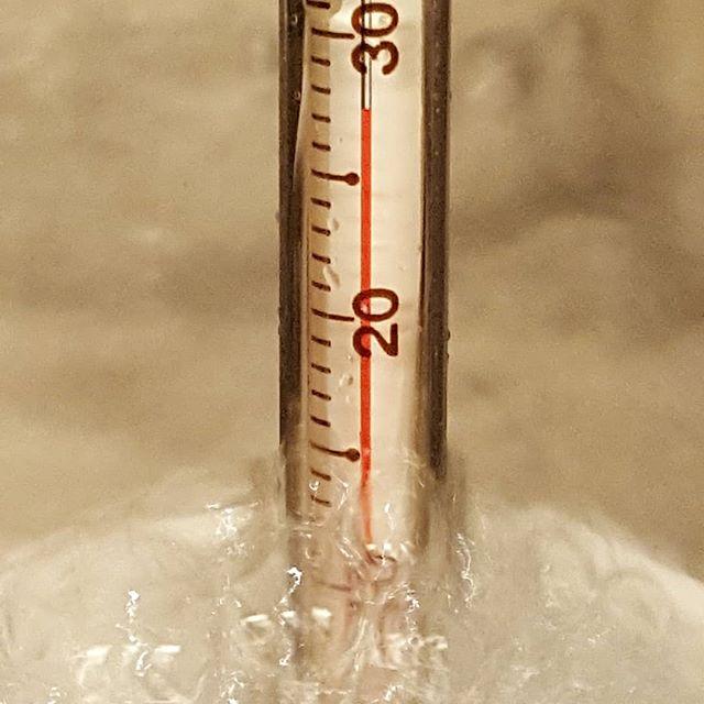 いつもの夏より水がぬるい気がして測ってみたけど...これじゃあプールに足しても温度下がらないな(笑)